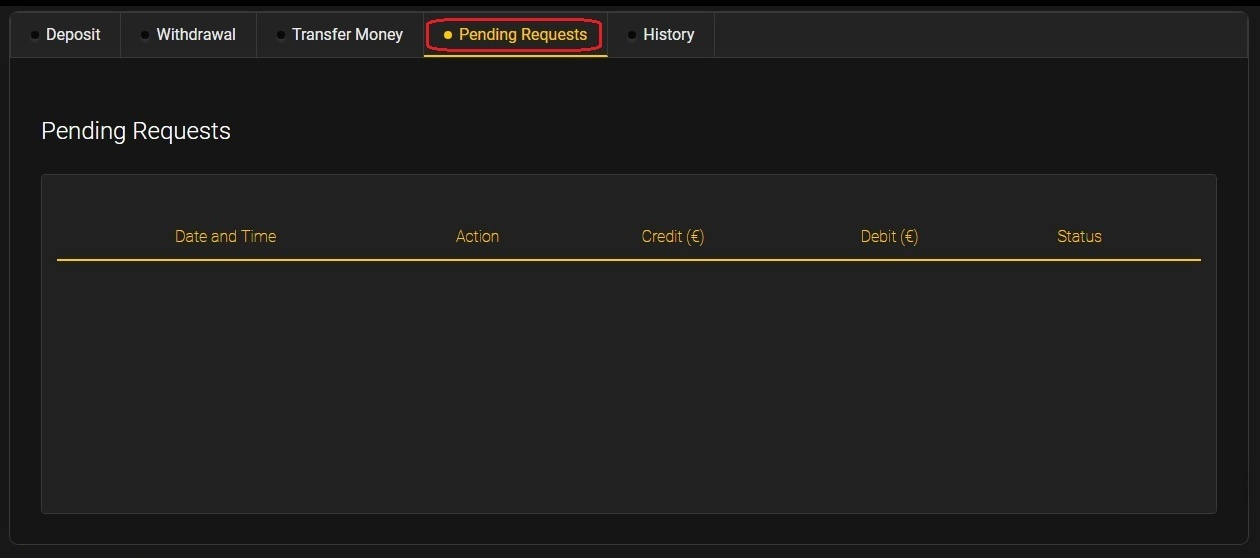 24option Pending Requests tab