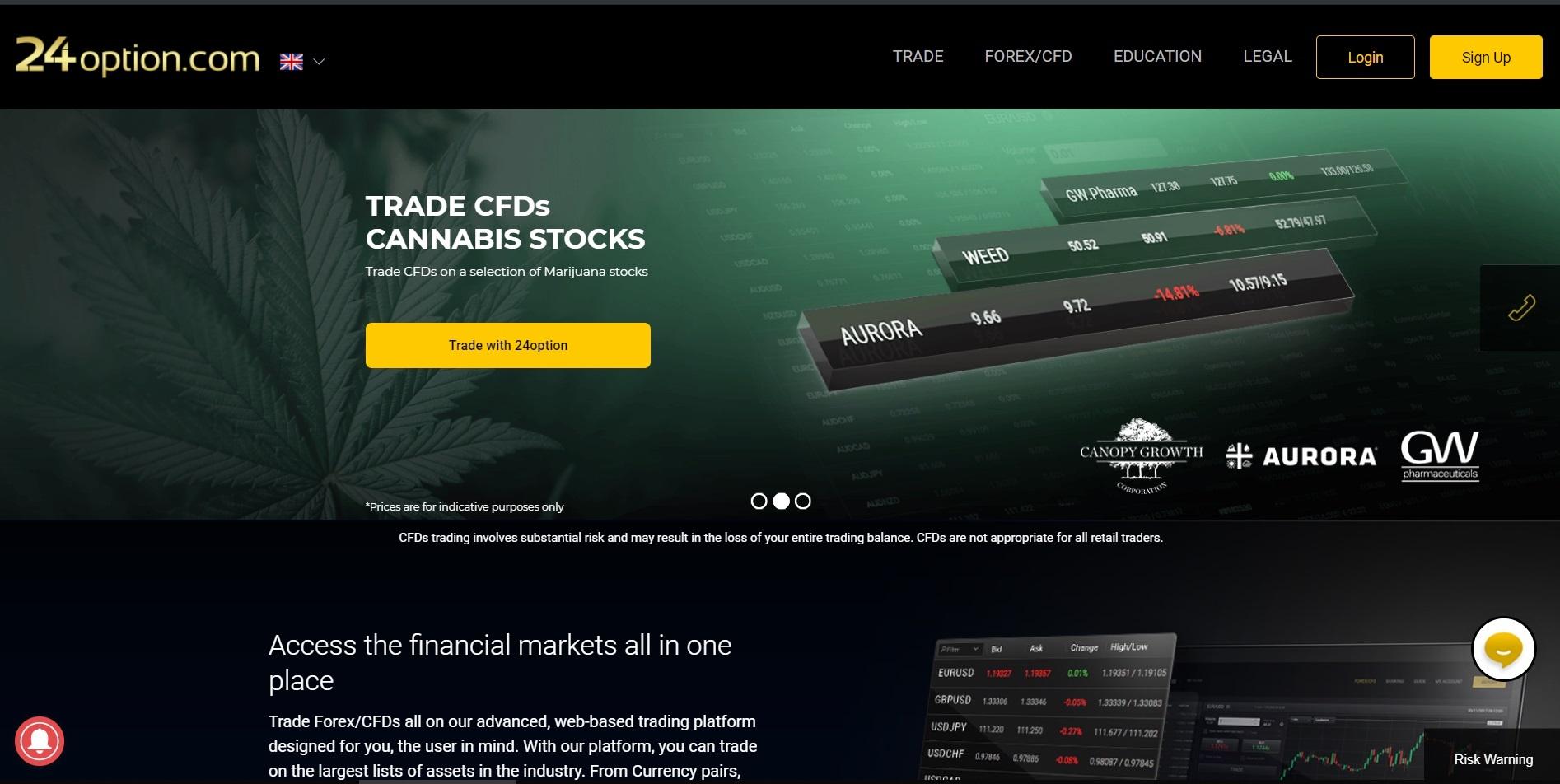 24option UK homepage