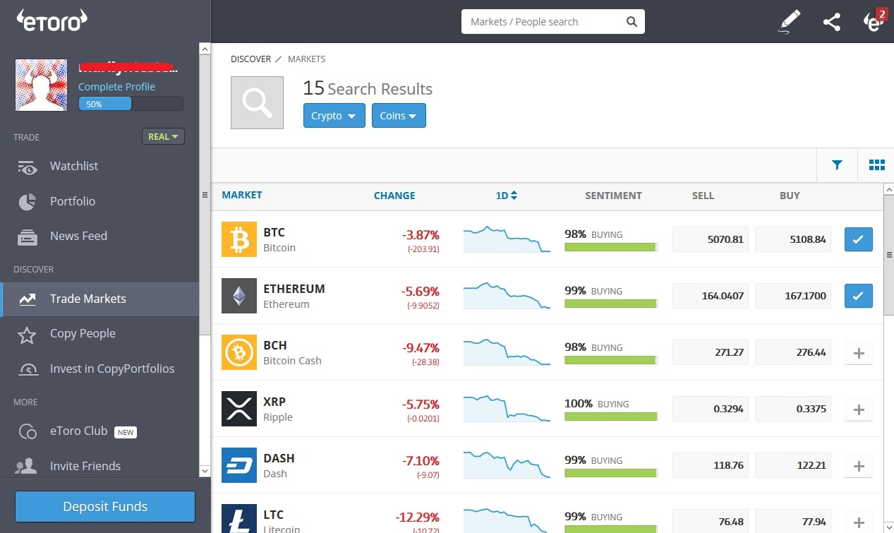 Cryptocurrency CFD trading on eToro