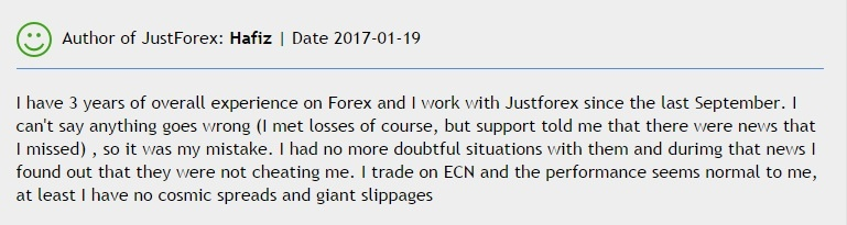 JustForex real user comment