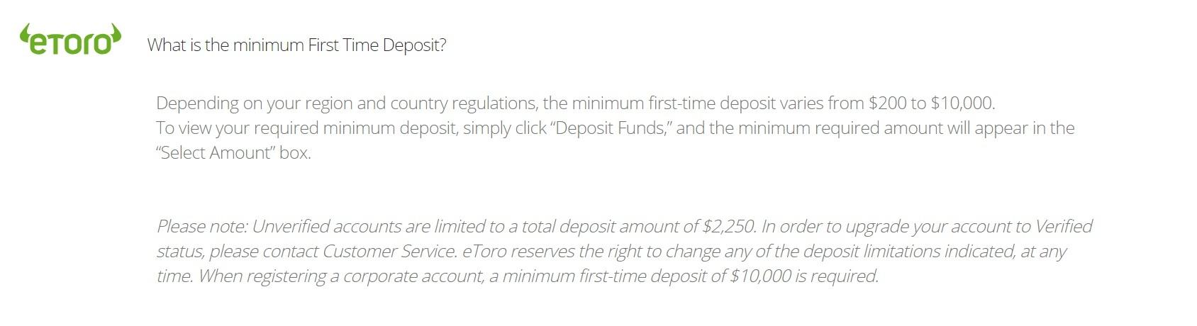 etoro initial deposit