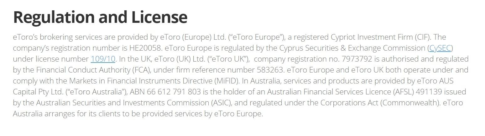 etoro regulation and license