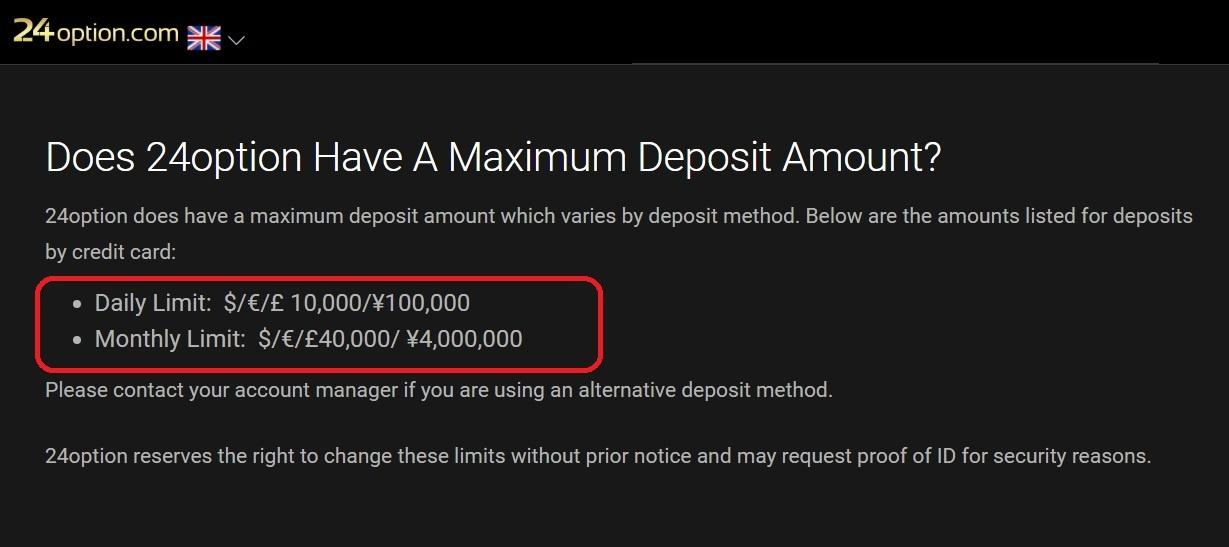 24option maximum deposit amount