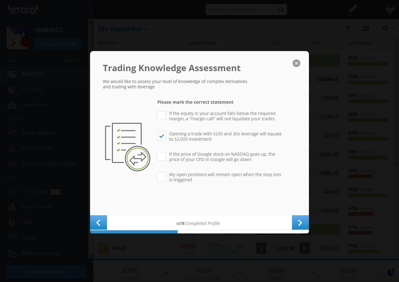 eToro questionnaire – trading knowledge assessment