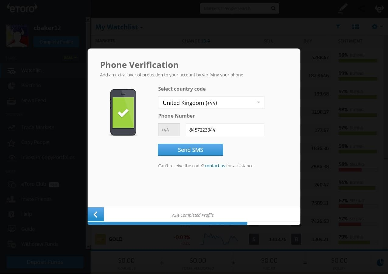 eToro phone verification