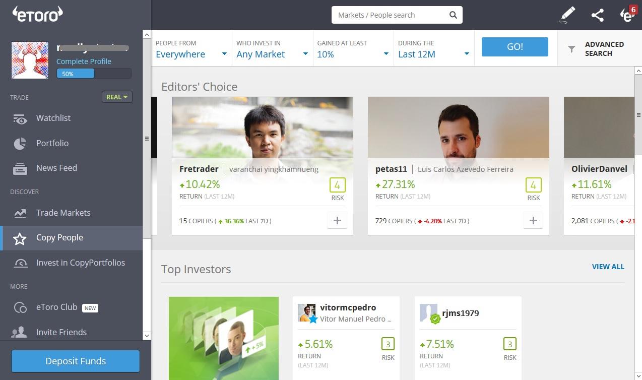 Popular investors on eToro