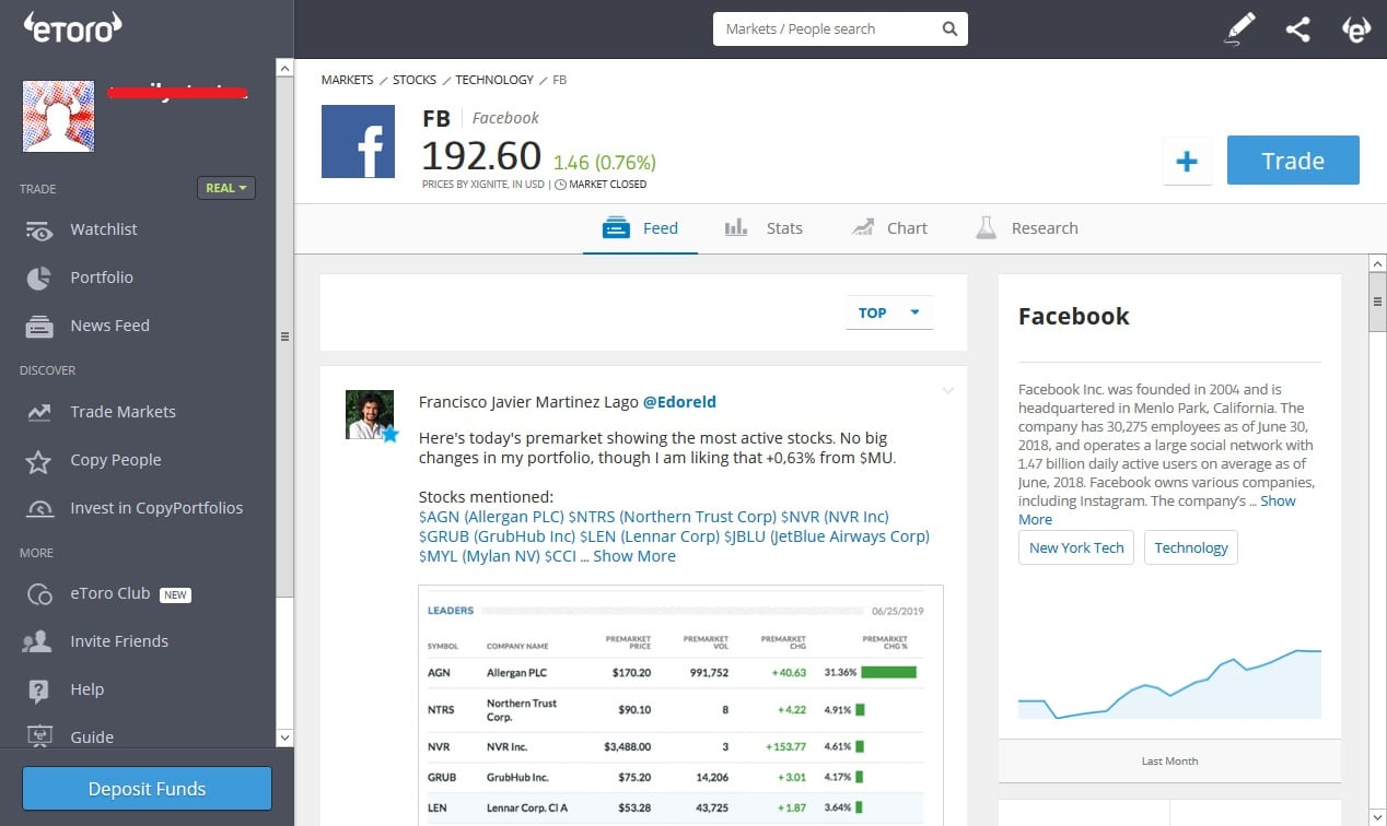 Trading Facebook CFDs with eToro