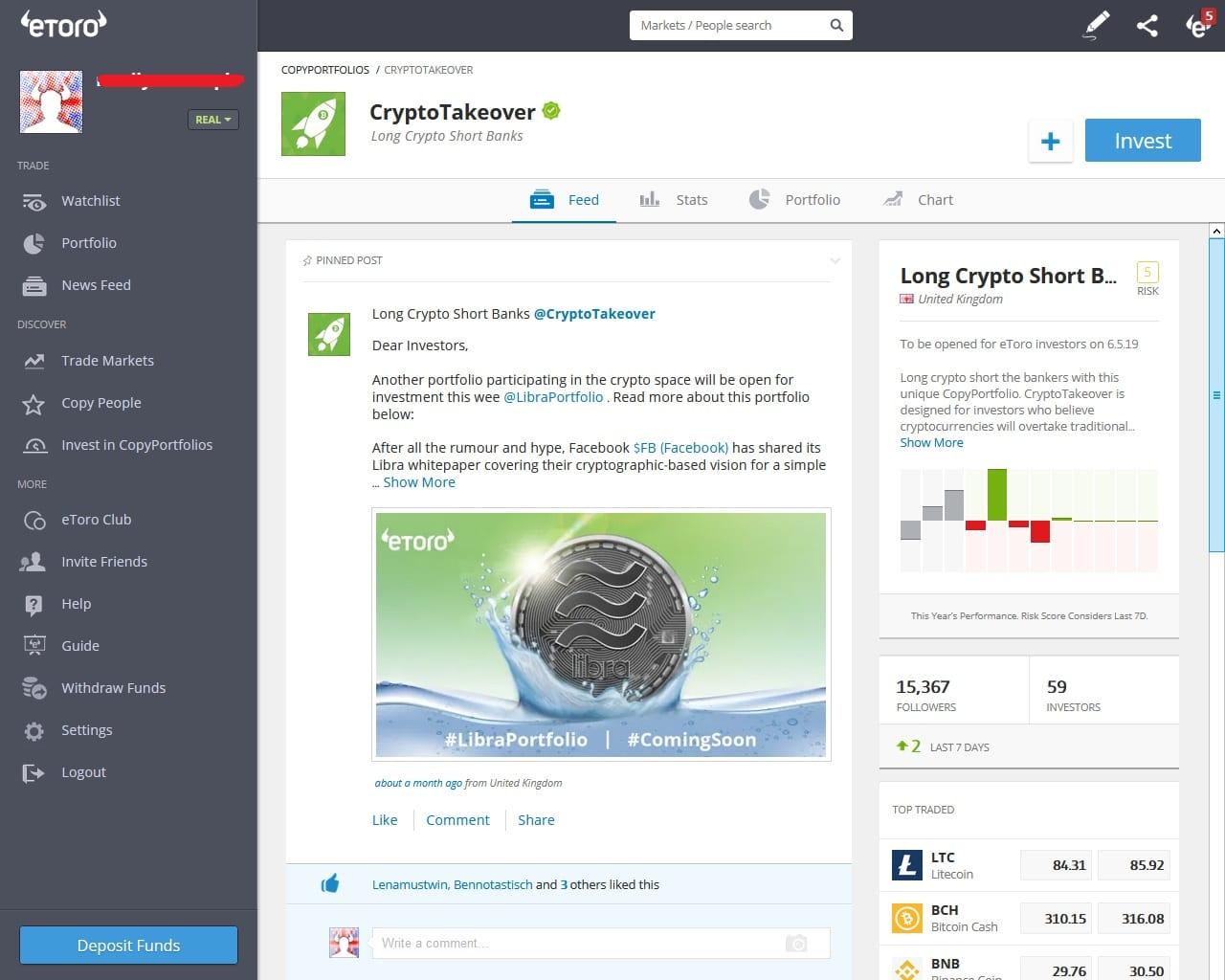 CryptoTakeover CopyPortfolio on eToro's platform