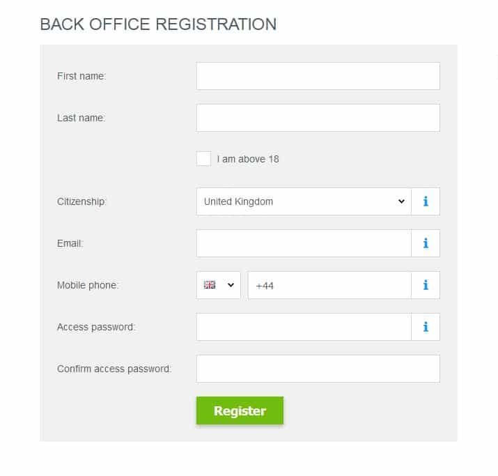JustForex registration page