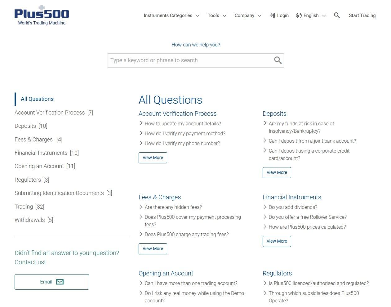 Plus500 FAQ page