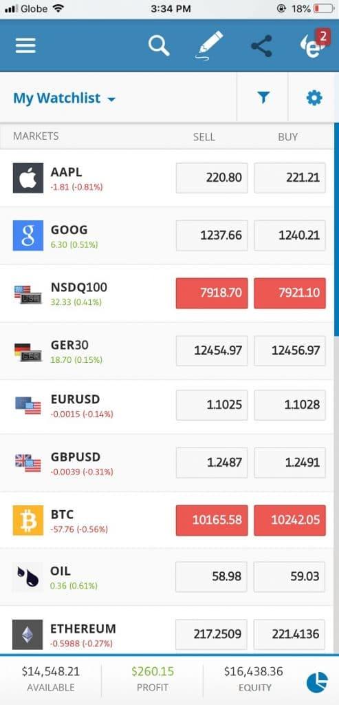 eToro iOS mobile app for iPhone and iPad