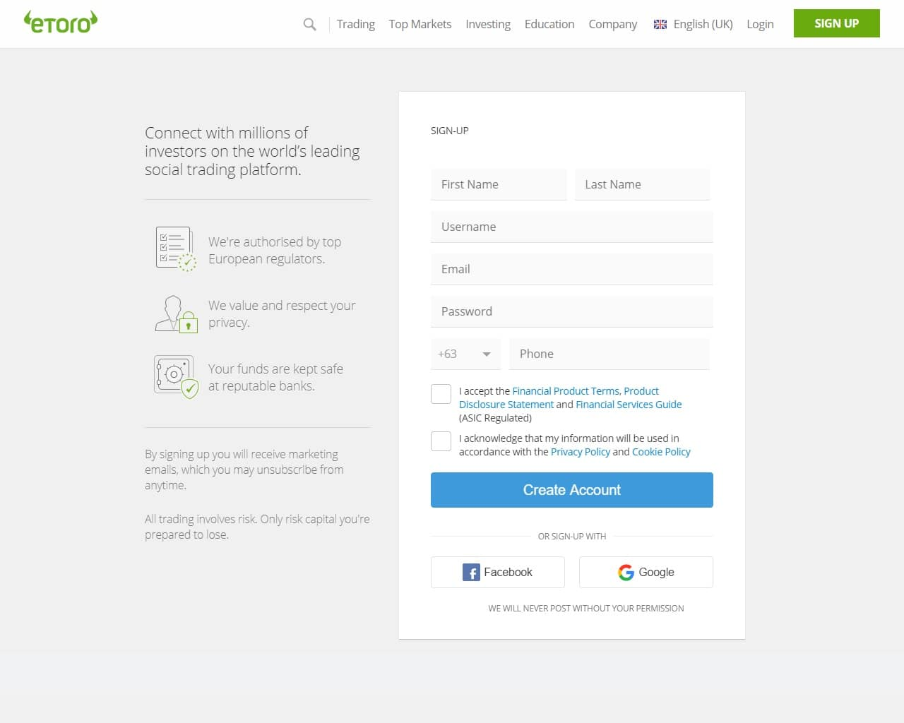 eToro registration page