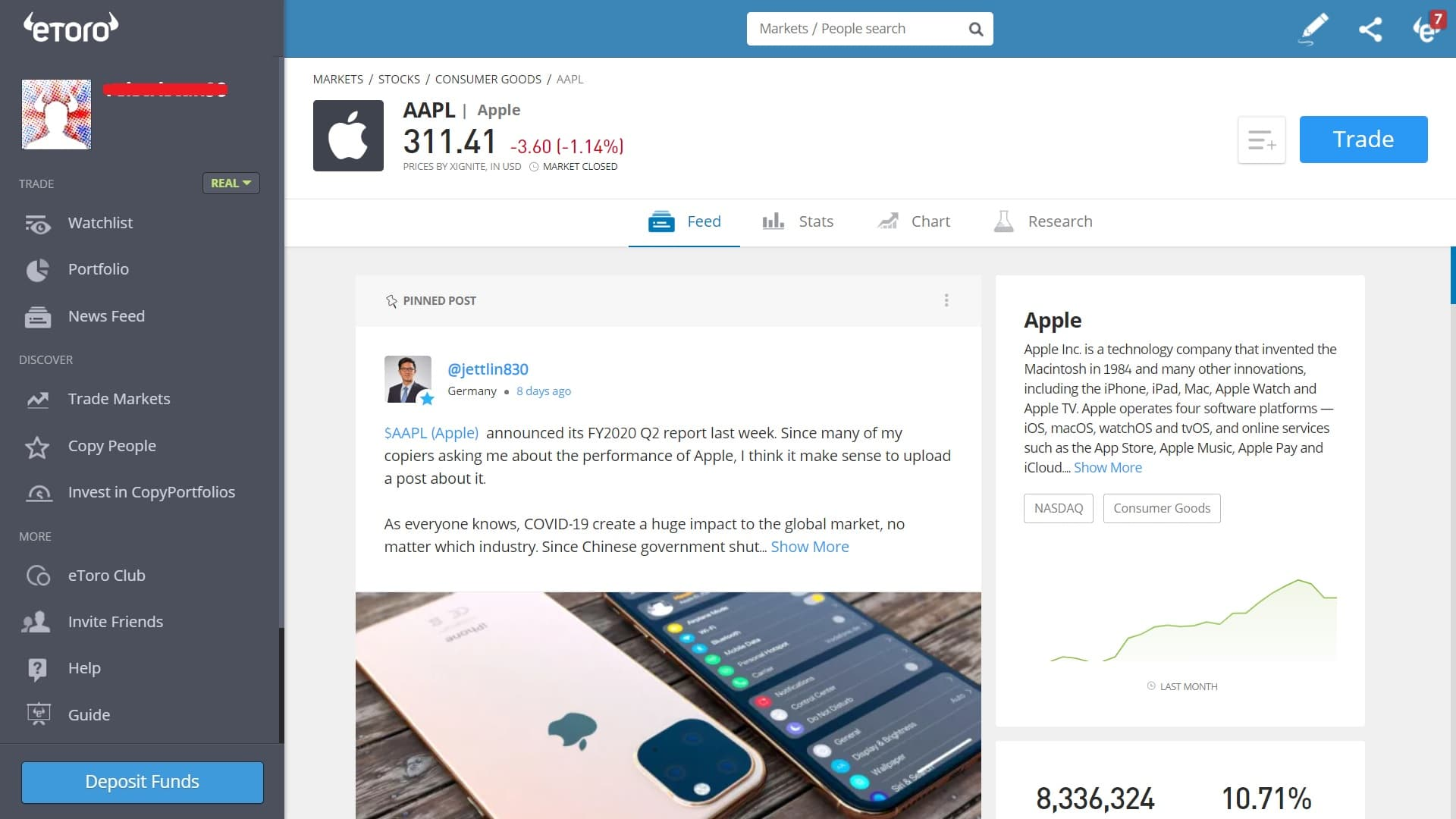Apple stock trading on eToro's platform