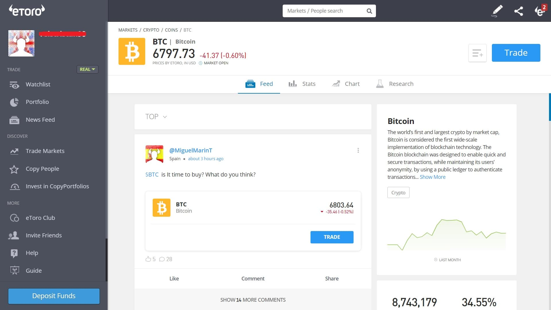 Bitcoin trading on eToro's platform