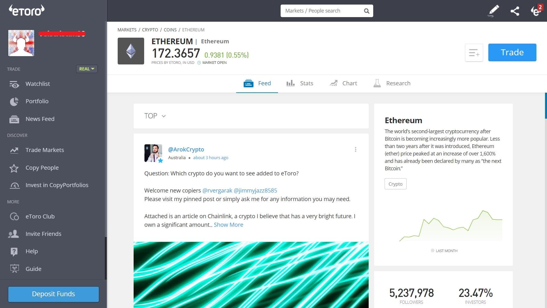 Ethereum trading on eToro's platform