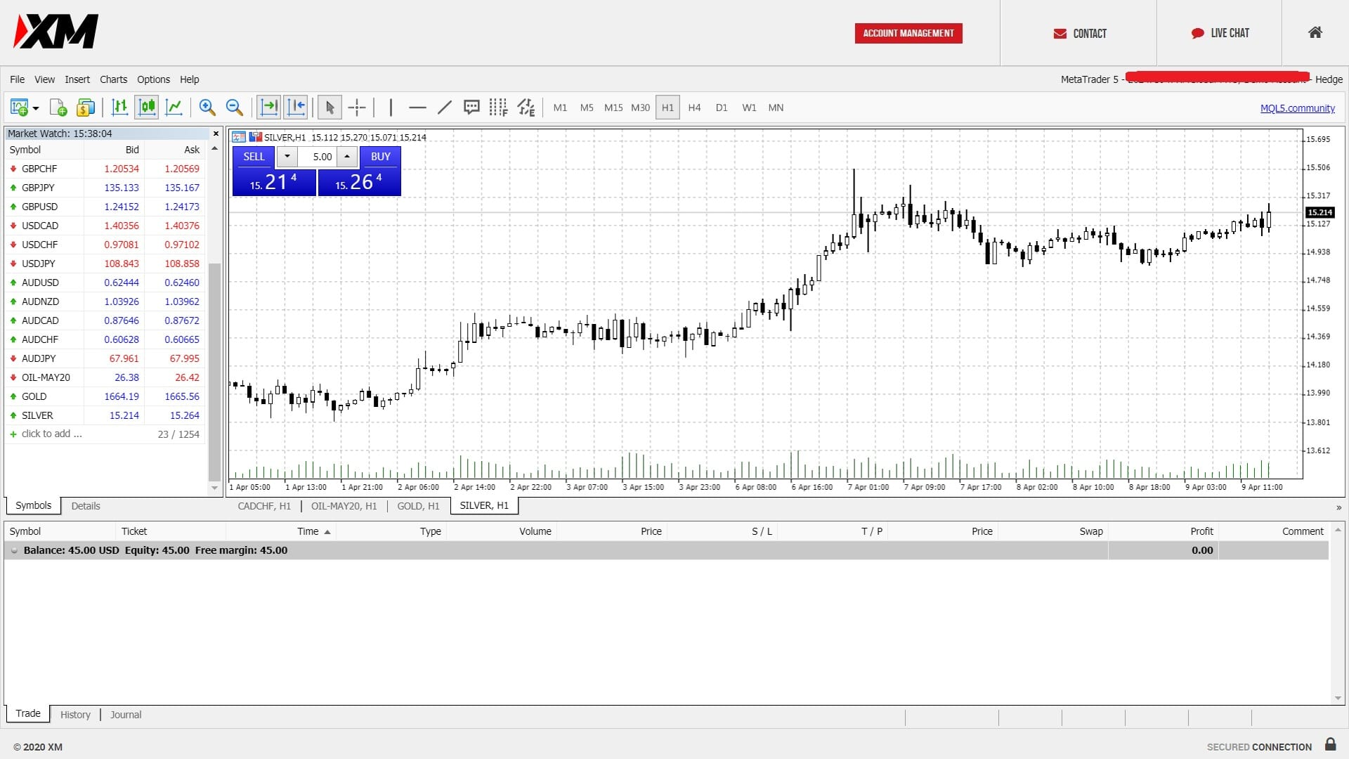 Silver trading on XM's MT5 platform