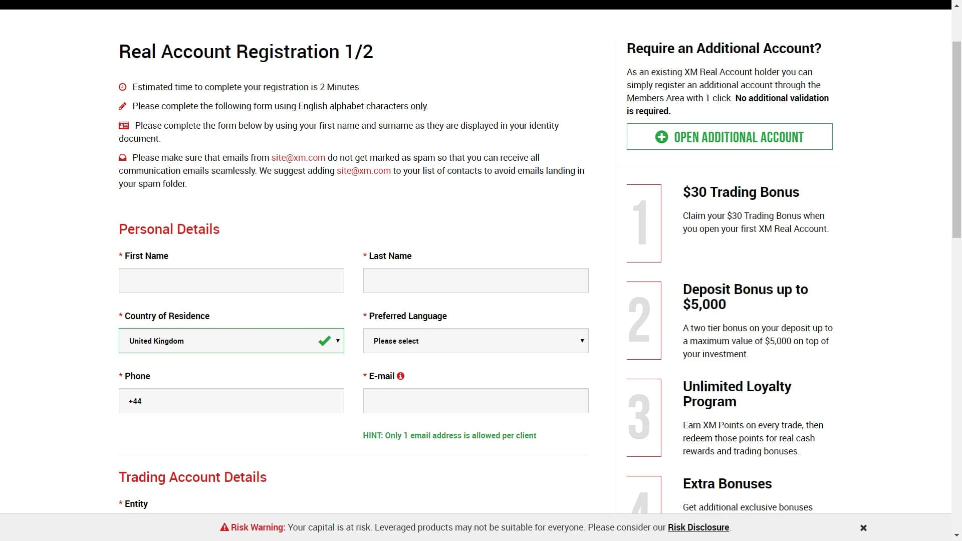 XM registration page