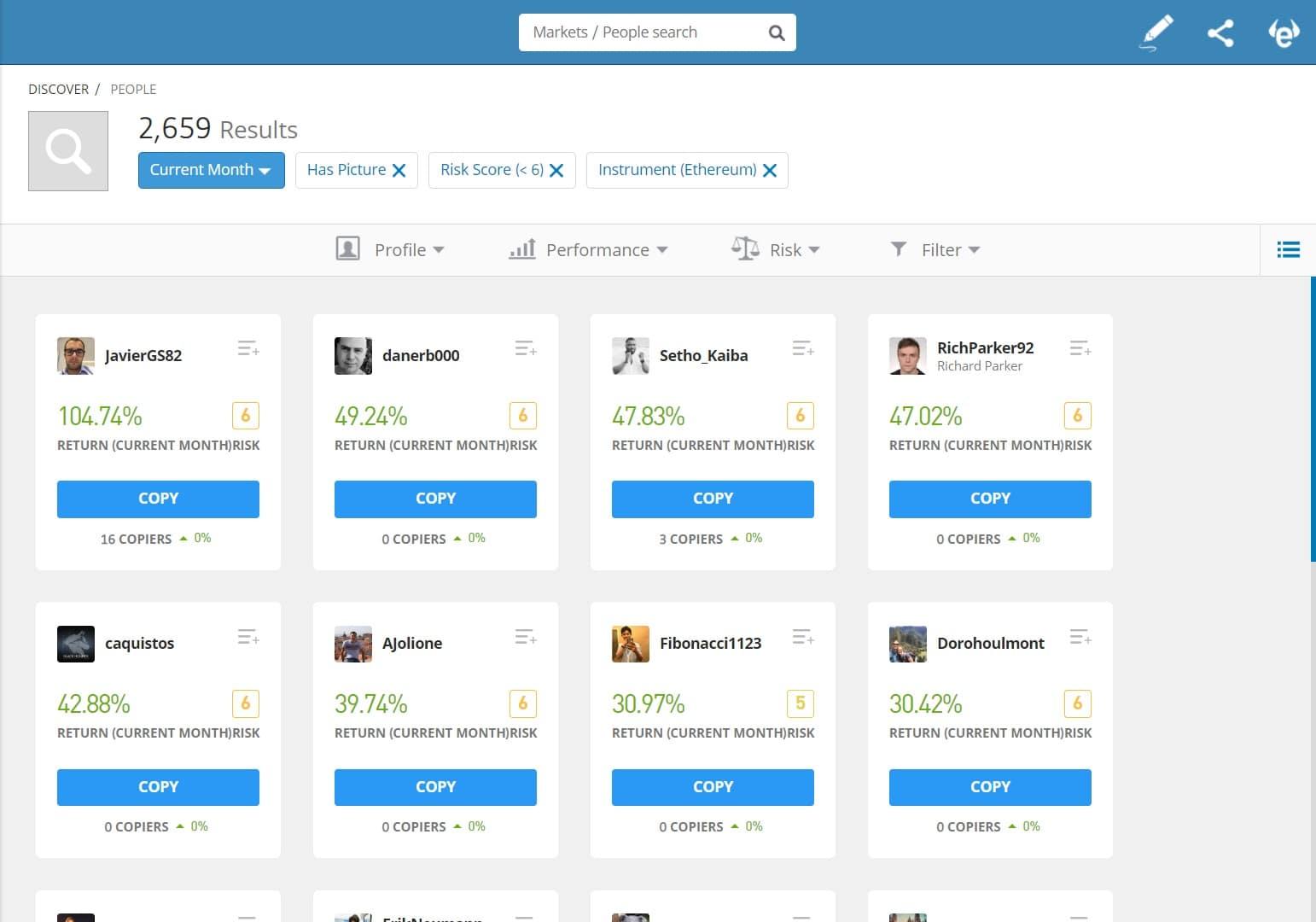 eToro Ethereum social trading
