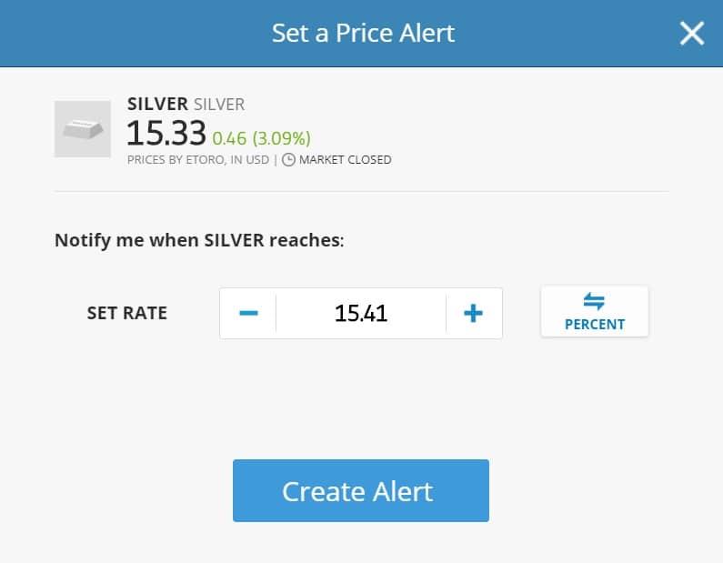 eToro silver price alert
