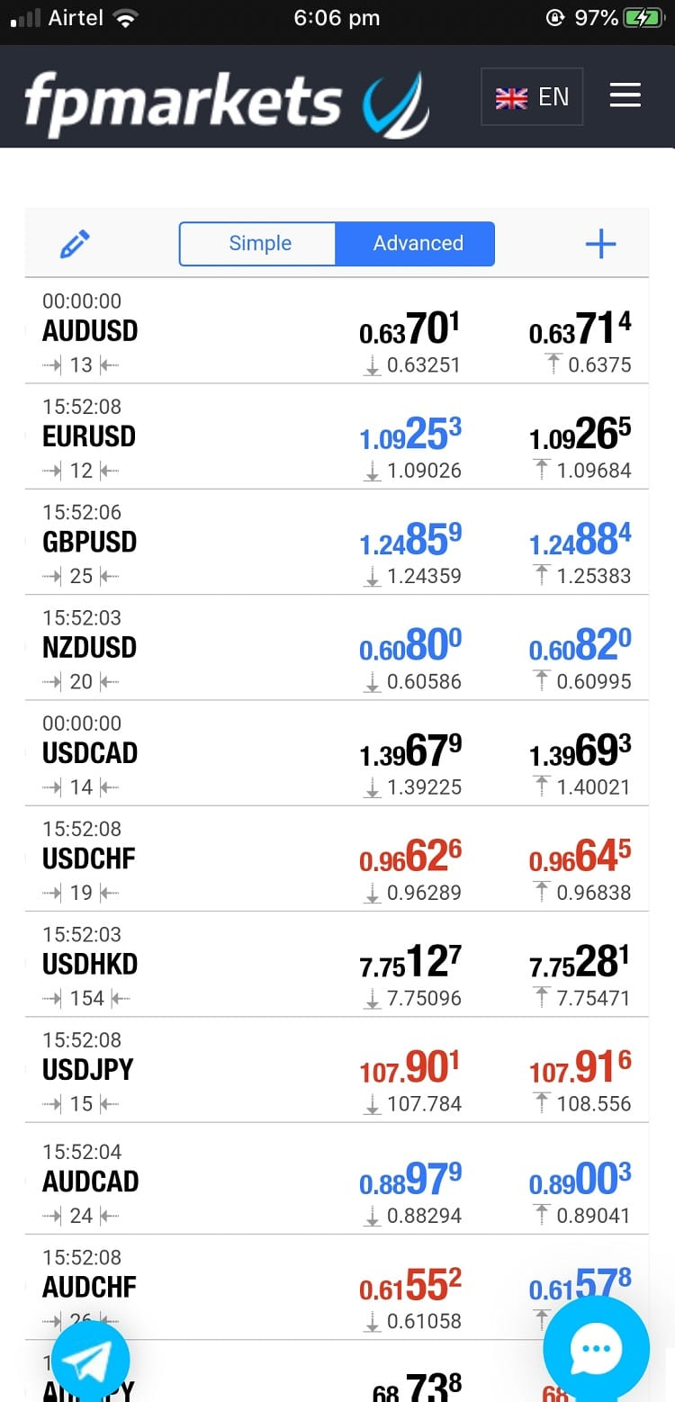 FP Markets iOS mobile app