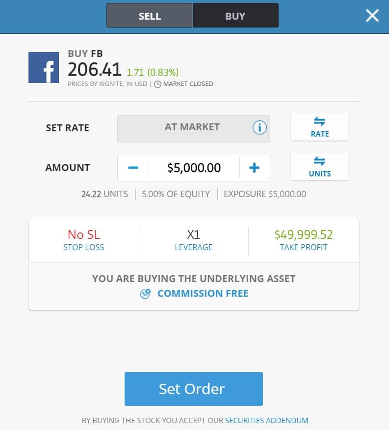 Buying Facebook stocks on eToro's platform