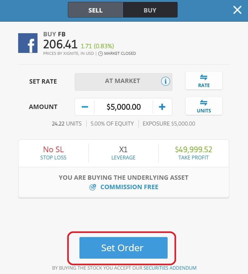 Executing order on eToro's platform
