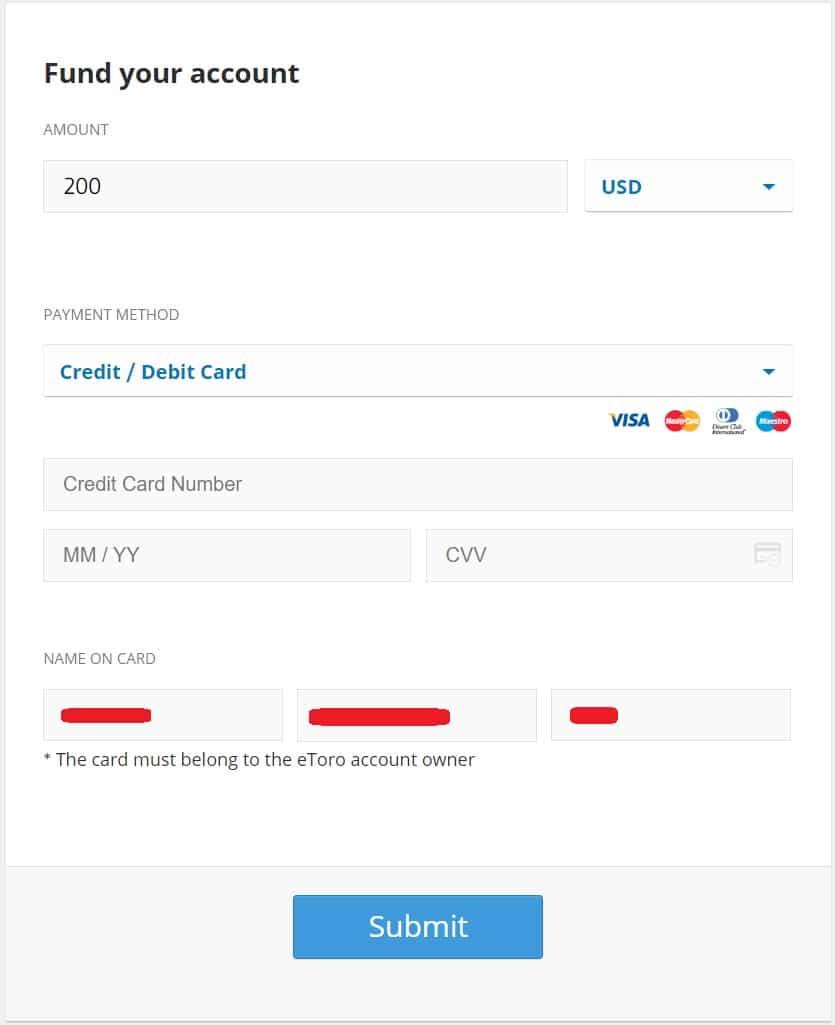 Making a deposit on an eToro trading account
