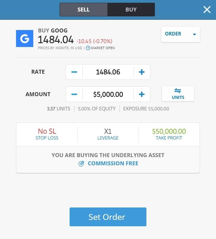Buying Google (Alphabet) stocks on eToro's platform