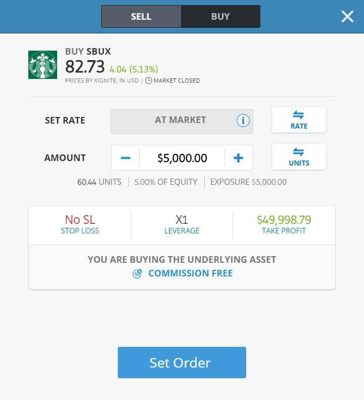 Buying Starbucks stocks on eToro's platform