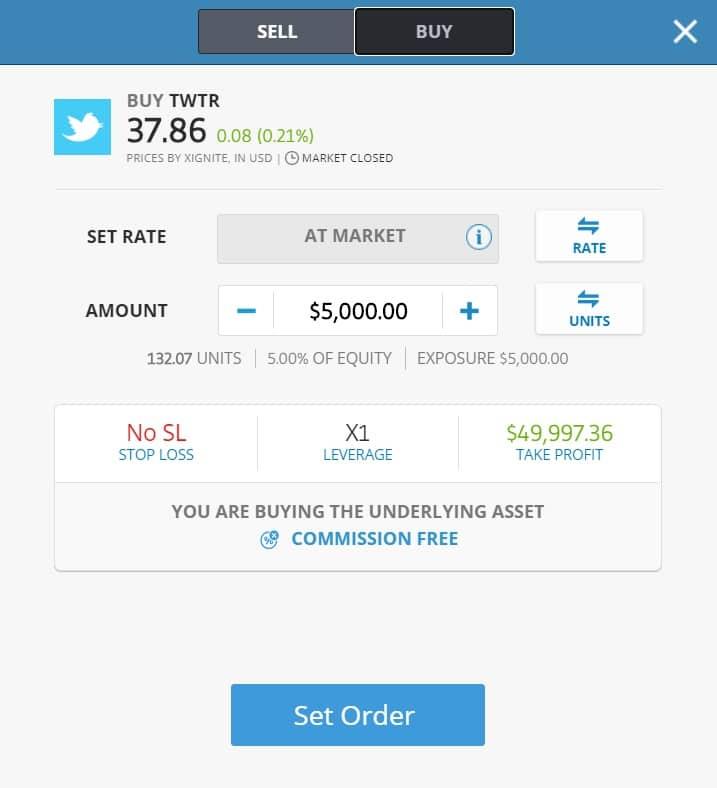 Buying Twitter stocks on eToro's platform