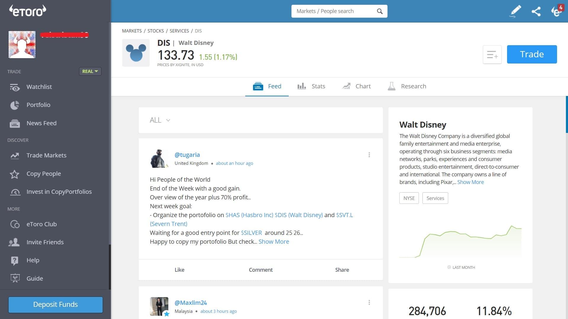 Disney stock trading on eToro's platform