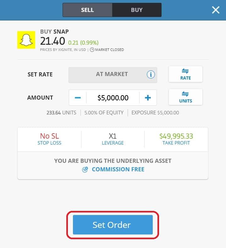 Executing order on eToro's platform Snapchat