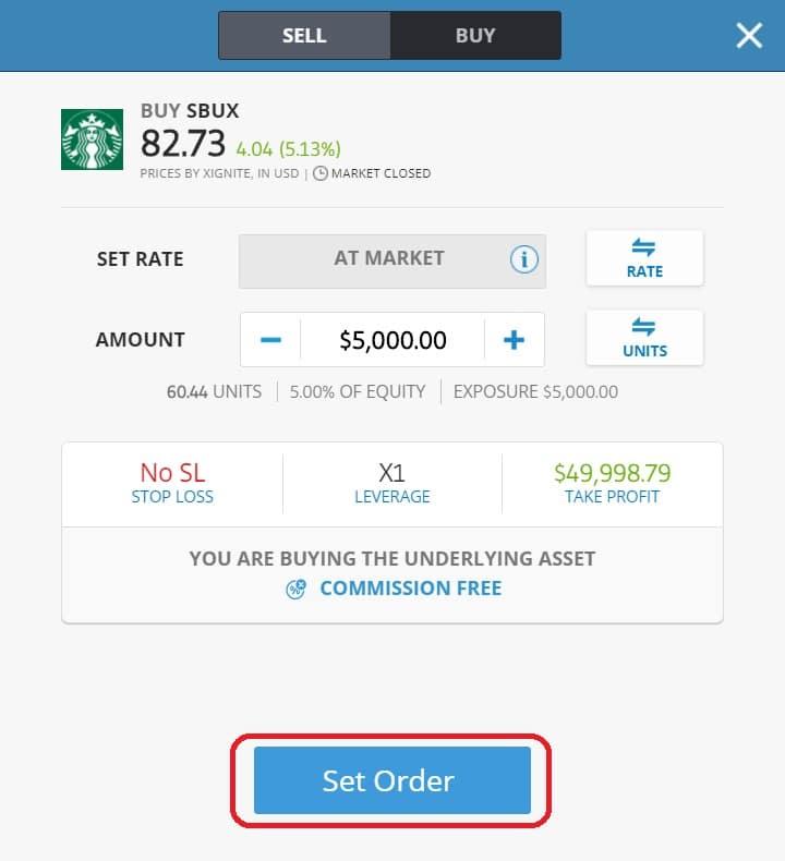 Executing order on eToro's platform Starbucks