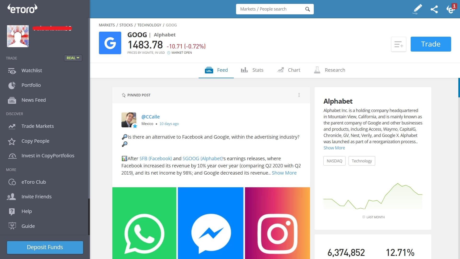 Google stock trading on eToro's platform