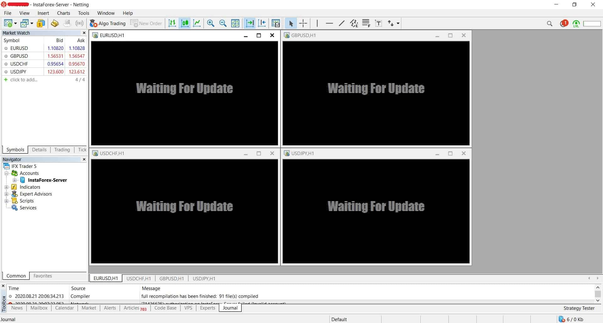 InstaForex MetaTrader 5 platform