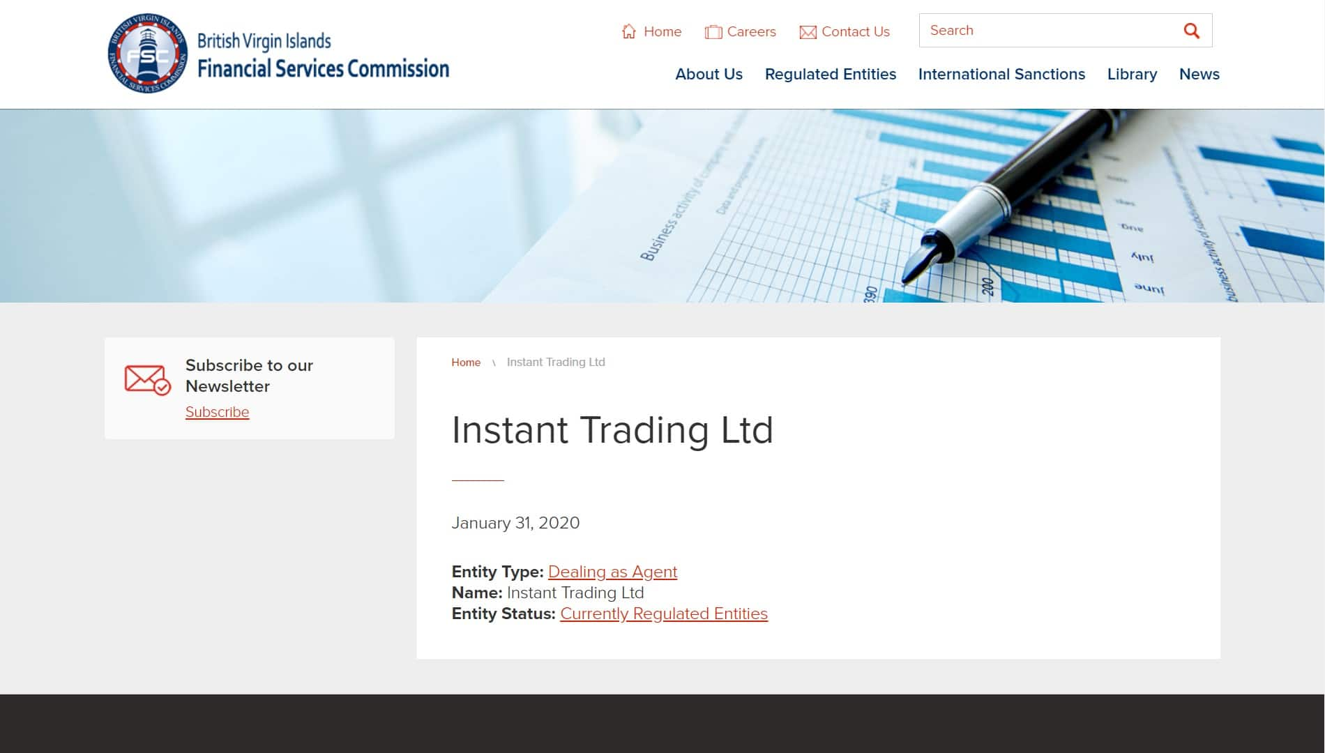 Instant Trading Ltd regulation from FSC BVI
