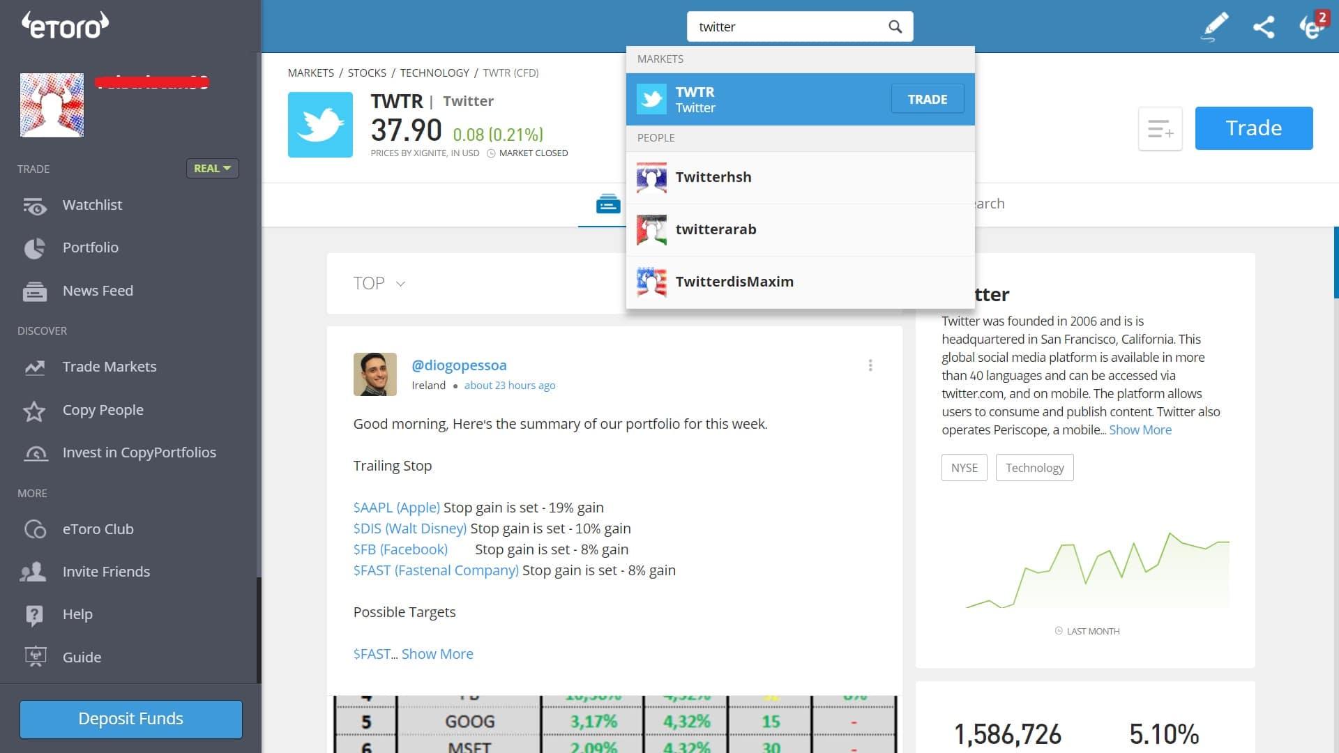Searching for Twitter stock on eToro's platform