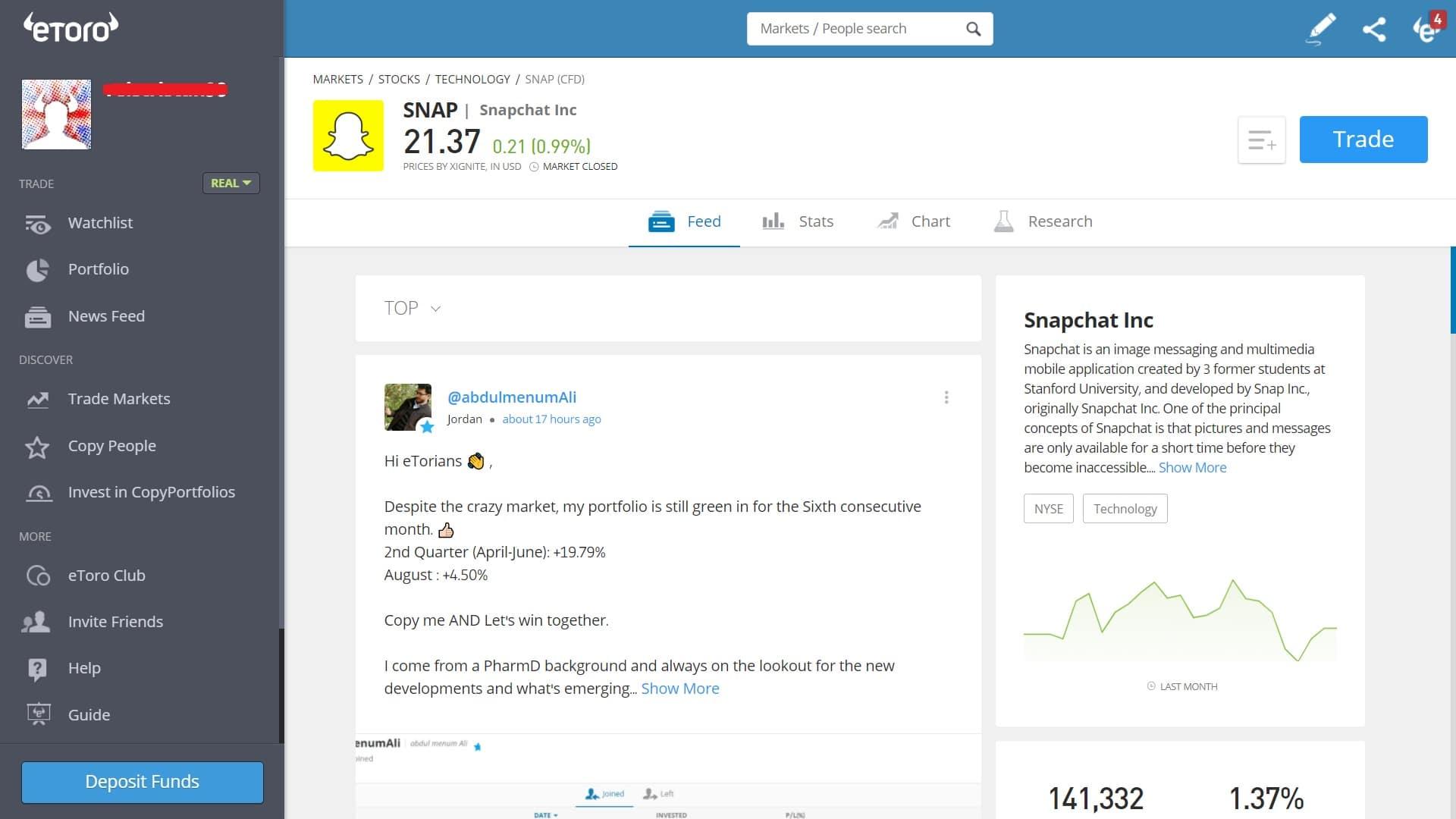 Snapchat stock trading on eToro's platform