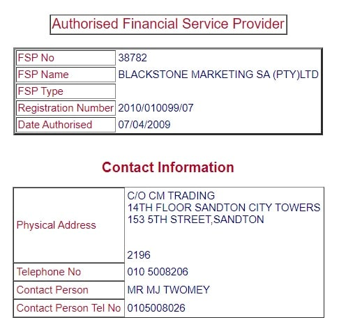 Blackstone Marketing SA FSP license from FSCA