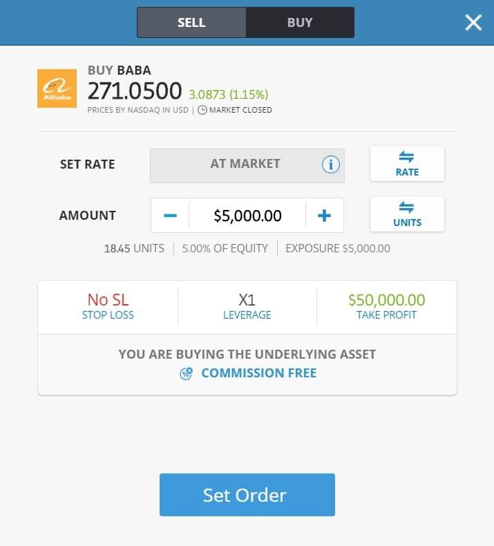 Buying Alibaba stocks on eToro's platform
