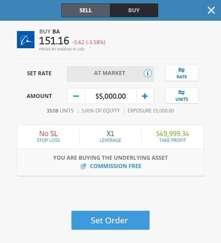 Buying Boeing stocks on eToro's platform