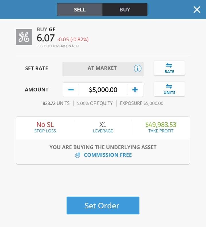 Buying GE stocks on eToro's platform