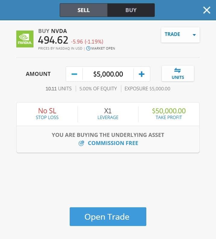 Buying NVIDIA stocks on eToro's platform