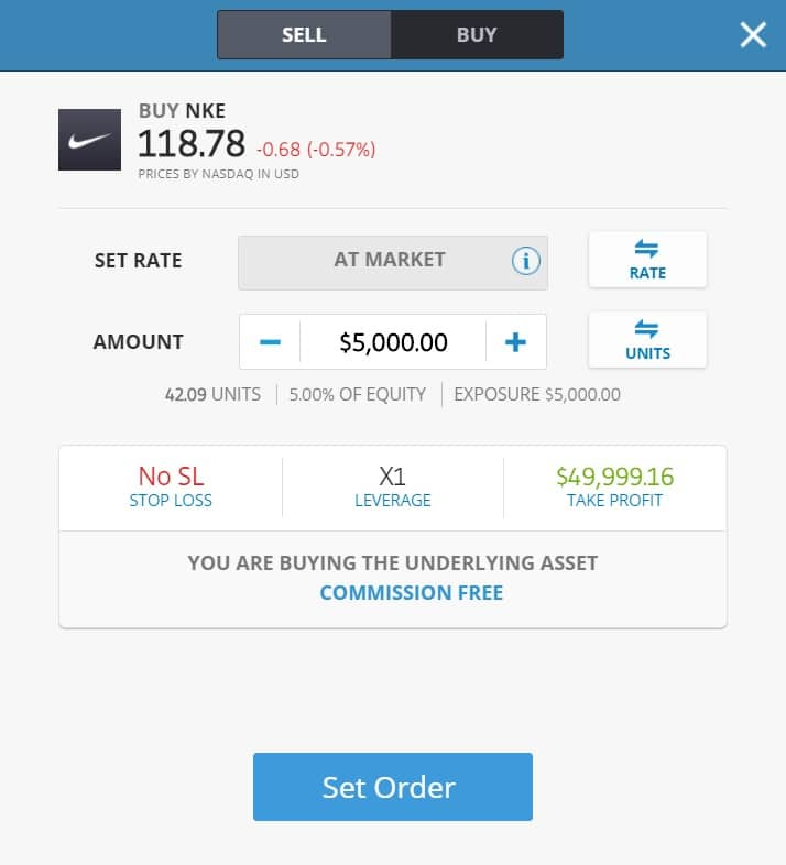 Buying Nike stocks on eToro's platform