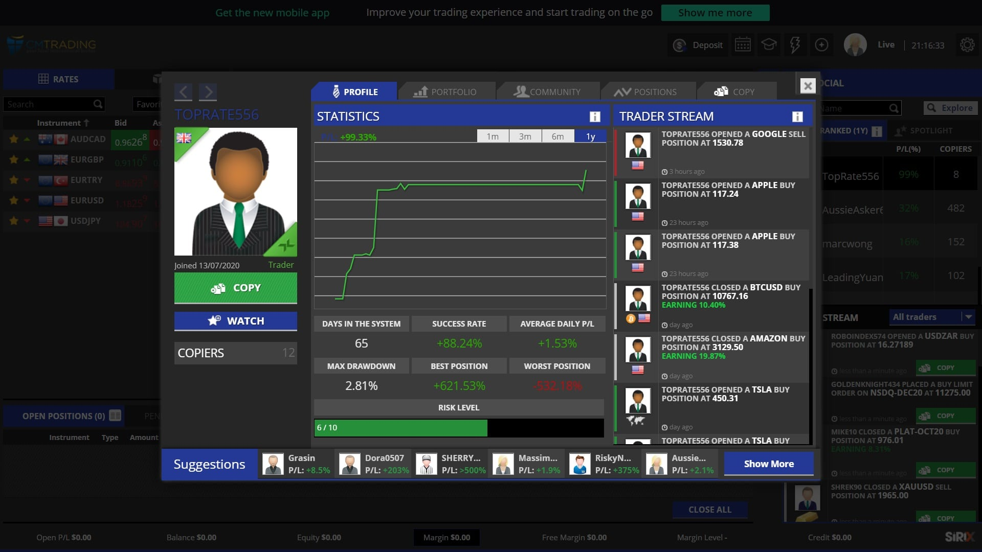 CM Trading CopyKat social trading feature