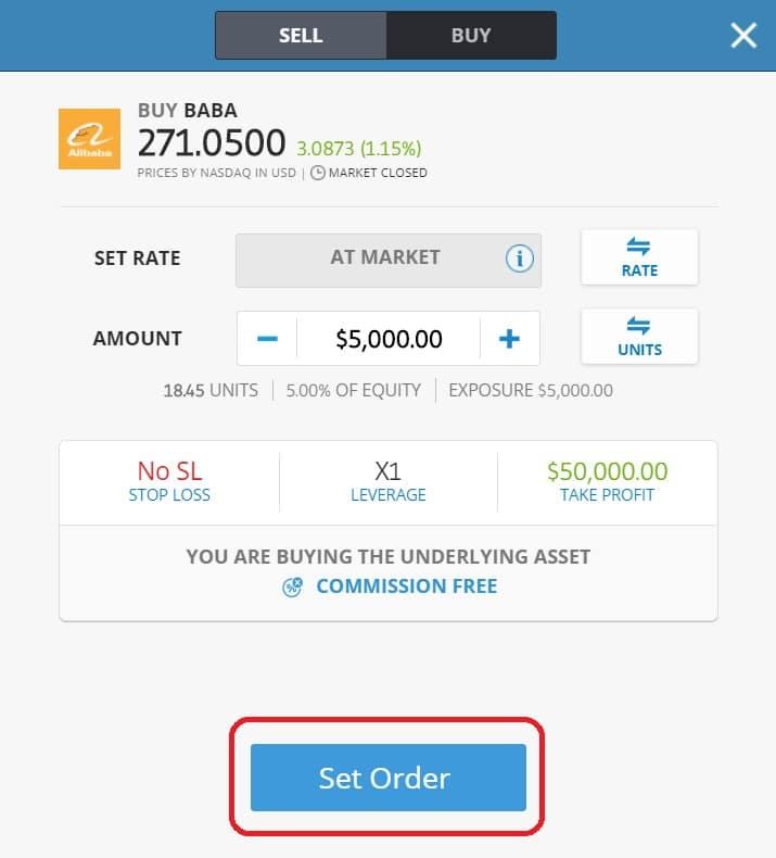 Executing order on eToro's platform
