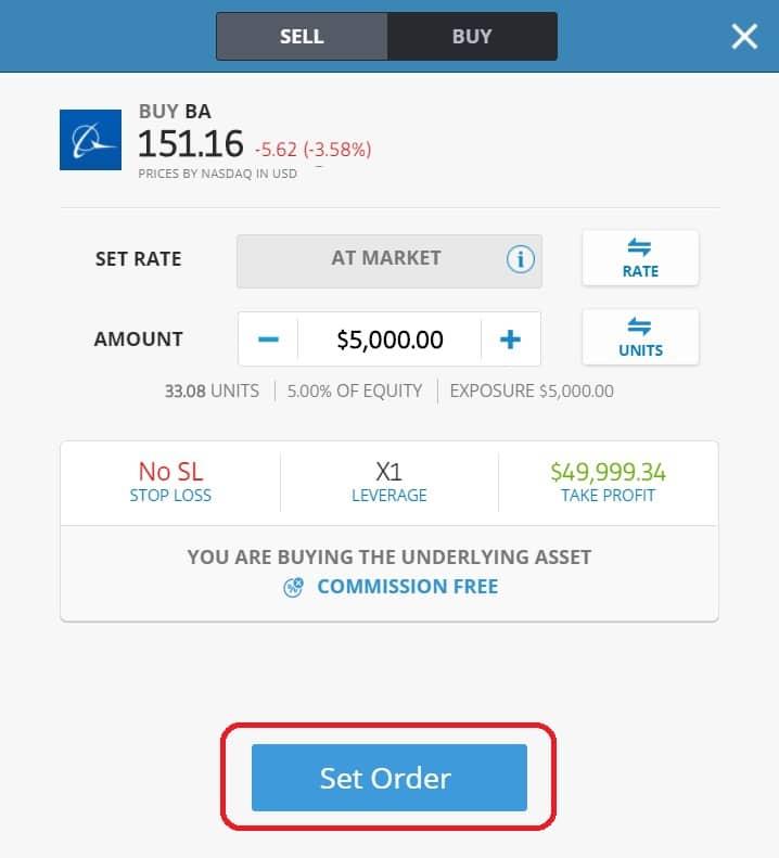 Executing order on eToro's platform Boeing