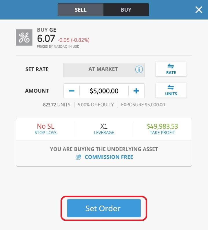 Executing order on eToro's platform GE