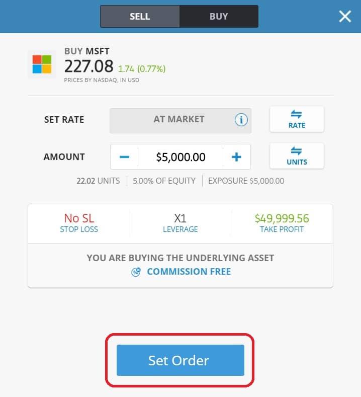 Executing order on eToro's platform Microsoft