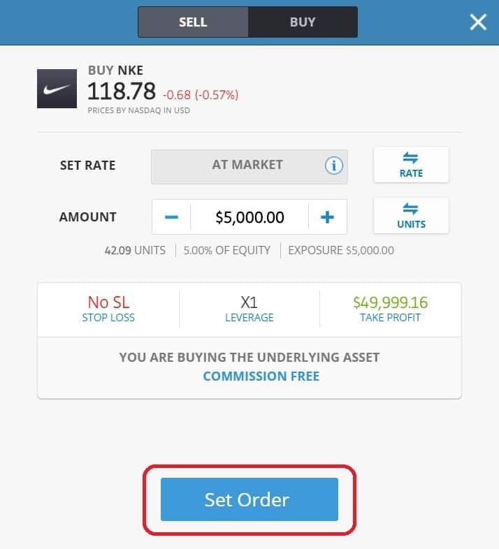 Executing order on eToro's platform Nike
